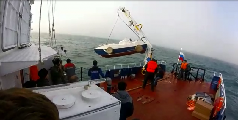 Attempted launch of the Russian FSB's patrol craft Lamantin