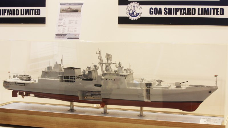 Model of Project 11356 frigate at Goa Shipyard's booth
