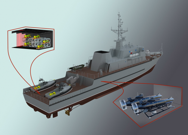 One of the arrangement options of unmanned boats Inspector onboard the Project 12700 minesweeper