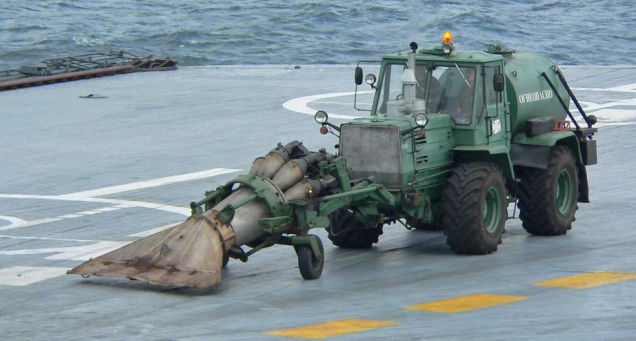 Tractor on the deck of Admiral Kuznetsov carrier