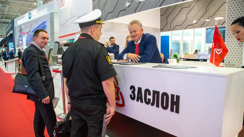 Representative of the Russian Navy at the booth of Zaslon Science &Technology Center