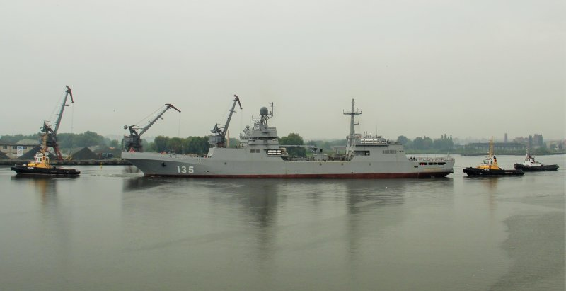 Preparation of Ivan Gren landing ship for sea trials