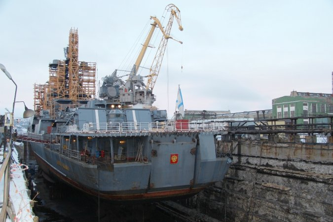 Project 11551 ASW ship Admiral Chabanenko docked at 35th ship repair plant