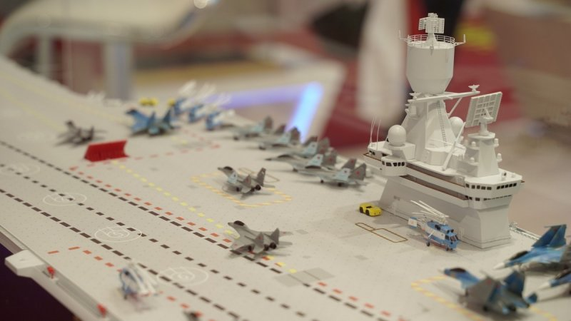 Model of Storm-KM aircraft carrier designed by Krylov State Research Center