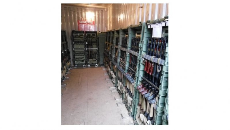 Field arms storage room in sea container