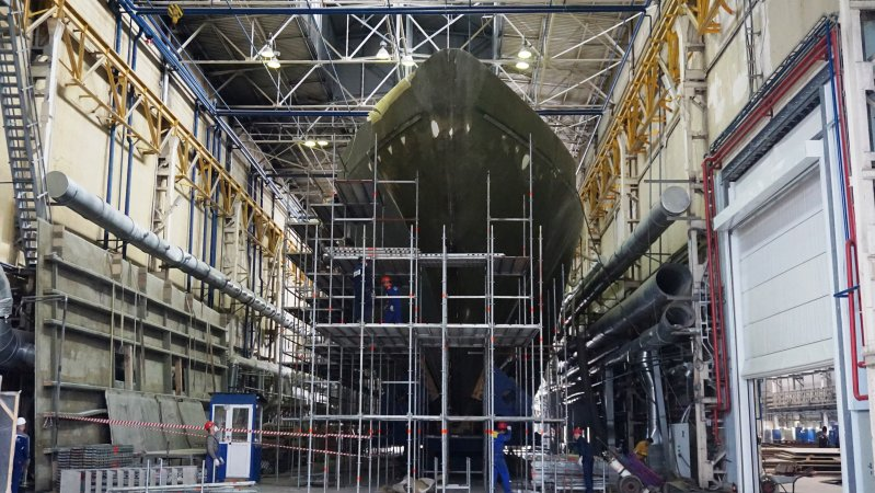 Minesweeper Ivan Antonov under construction (Project 12700 Alexandrite)