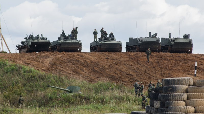 Combat vehicles at the Alabino Range