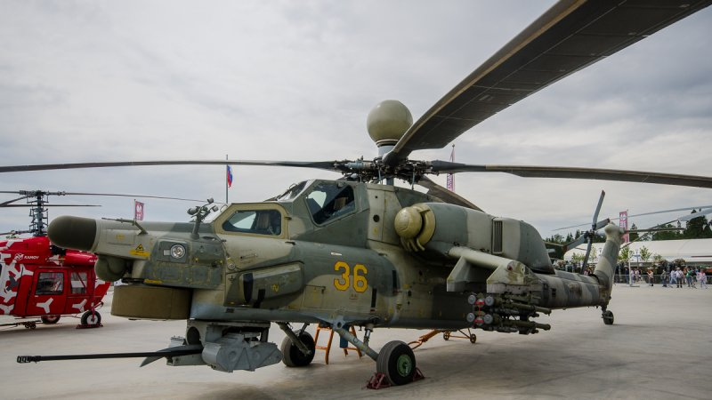 Mi-28 attack helicopter demonstrated at ARMY-2015 forum