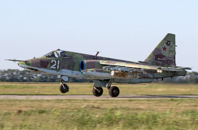Su-25 taking off with FAB-500 bombs