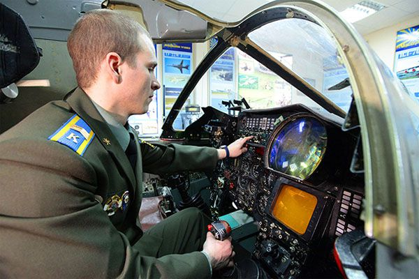 A pilot cadet at flight simulator