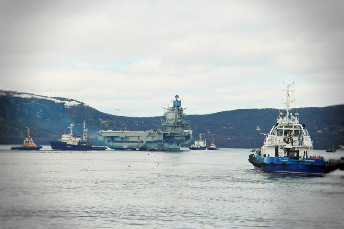 Aircraft carrier Admiral Kuznetsov being towed for repairs