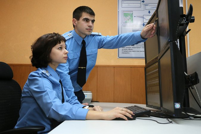 Russian Airspace Force officers on duty