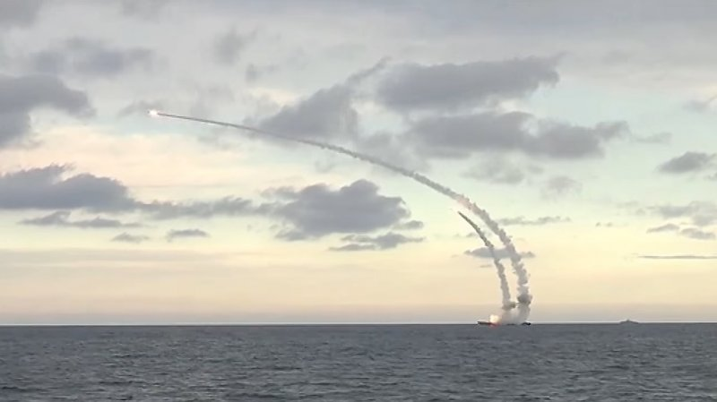 Salvo launch of Caliber missiles