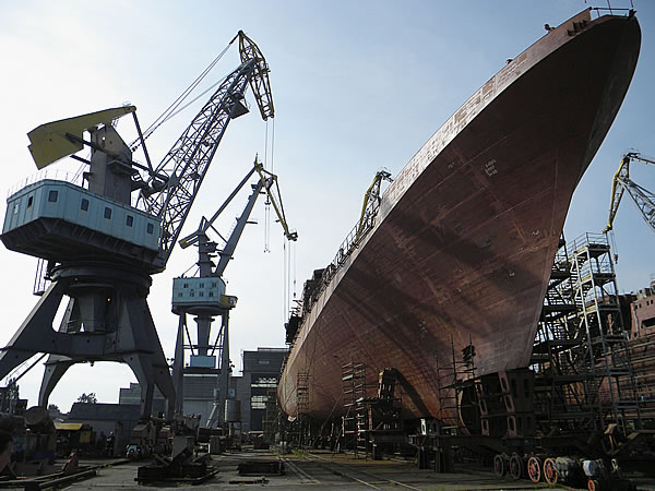 A project 11356 frigate at the Yantar Shipyard