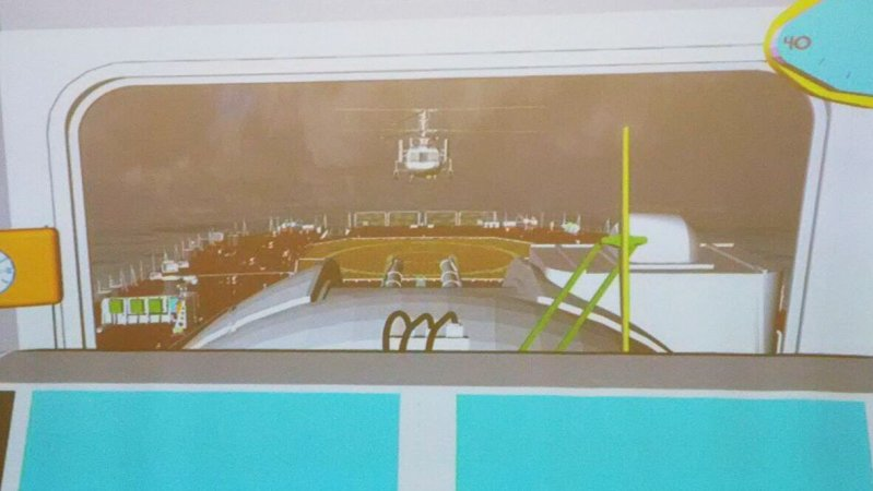 Helicopter deck landing visualized by SDB software/hardware suite for adjustment of designing solutions