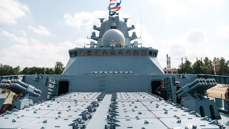 Vertical launch system of Caliber cruise missiles mounted on Admiral Gorshkov frigate