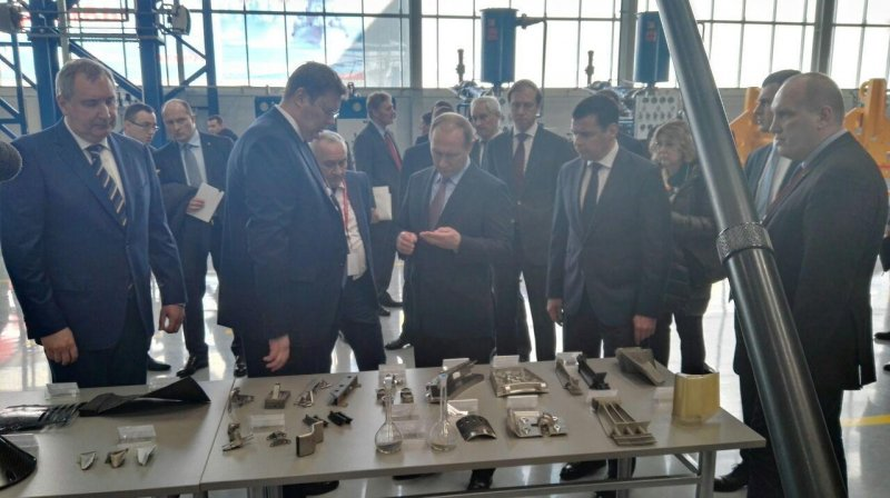 Vladimir Putin inspecting components made of new cobalt alloy