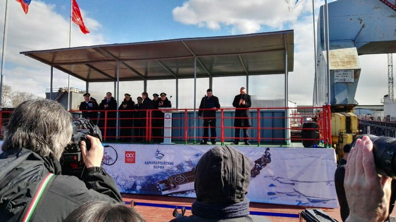 Laying down the keel of the Project 23550 ice-class multirole patrol ship Ivan Papanin