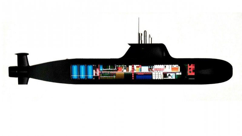 Layout of the P-750B midget littoral-zone submarine with anaerobic powerplant based on closed-cycle gas turbine engine
